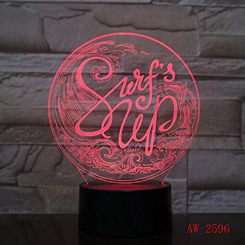 16 millones de colores que cambian de LED 3D Hum Wave Modelado de la lámpara de mesa de los niños táctil USB Surf luz nocturna luz de sueño, teléfono Bluetooth control remoto colores