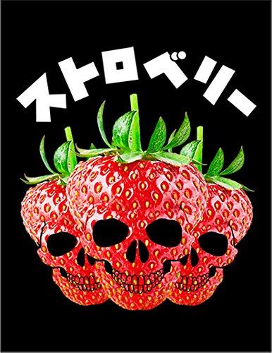 【スカル 苺 いちご】 ポストカード・はがき(黒背景)
