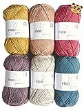 Woll-Set Babywolle Rico Baby Cotton Soft dk 6x50g #64, Baumwollmischgarn und Holzknopf Tiger, weiche Wolle zum Stricken und Häkeln