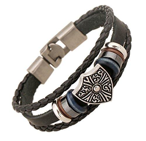 AIUIN 1X Retro armband wapen armband leer gevlochten voor heren decoratieve armband