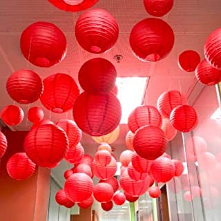 Pop the Party Paper Hanging Lantern for Wedding Hanging Party Decor (36 x 36 x 8 cm, Red) Set of 5