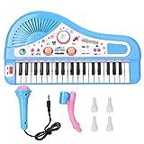 Operalie Piano eléctrico, Teclado 37 Instrumento de Piano eléctrico con micrófono Juguete Educativo para niños pequeños, Juguetes Musicales educativos(Azul)