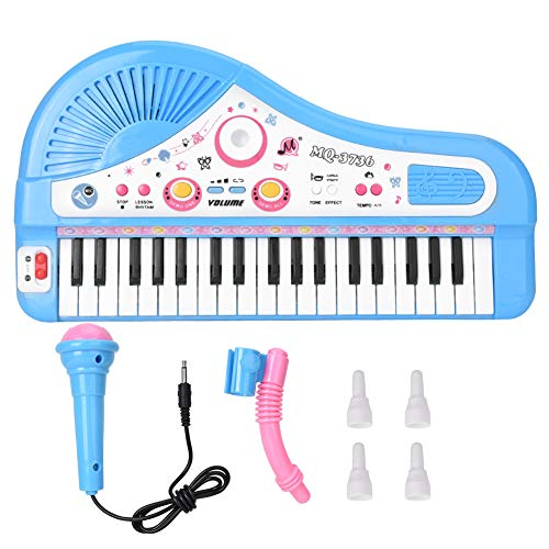Phisscii Elektro-Piano 37 Keyboard Instrument elektrisches Piano mit Mikrofon Lernspielzeug für Kinder (blau)