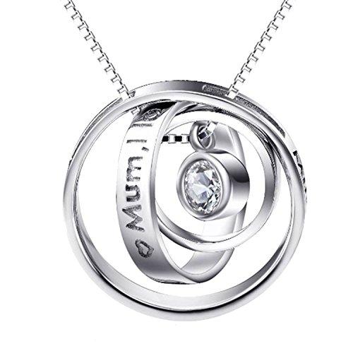 Collar para mamá Royal Crystals de plata fina 925 con un mensaje grabado que dice «Mum, I Love You» con tres anillos entrelazados, regalo para día de la madre, 46cm