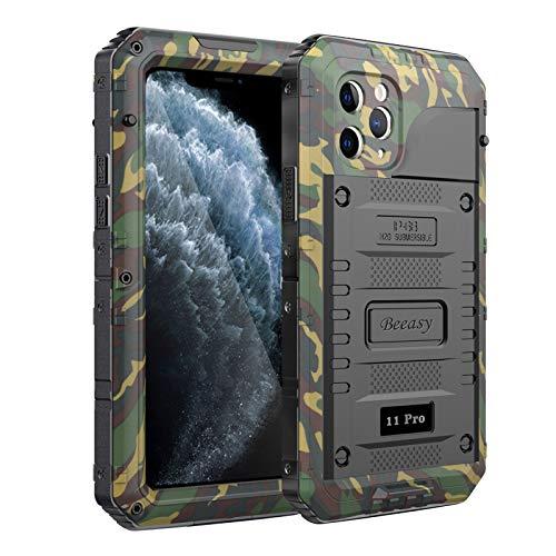 Beeasy Funda para iPhone 11 Pro Impermeable,Antigolpes con Protector de Pantalla,360°Protección Rígida Antigravedad Carcasa Resistente al Impacto Militar Duradera Blindada Fuerte Seguridad,Camuflaje