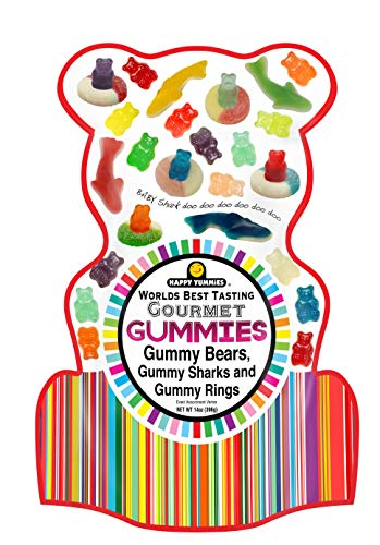 Happy Yummies Worlds Best Tasting Gourmet Gummy Candy Shark Bag 14oz