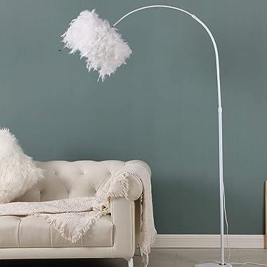 YMLSD Floor Lights,Standing Light Vertical Lamps Lights Nordic Creative Floor Lights,Feather Lampshade Living Room Vertical F