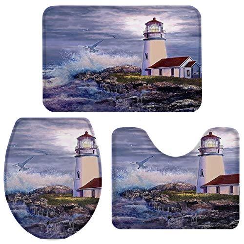"Vandarllin Vintage Lighthouse Beach Painting 3 Piece Plush Bathroom Rugs Set Non Slip Water Absorbent Tub Shower Mats -Bath Rug U-Shape Contoured Toilet Mat Lid Cover 20""x31""+16""x18""+16""x20"" Blue"