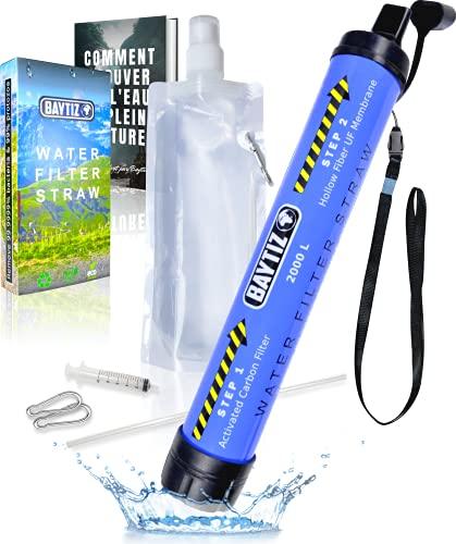Baytiz   Filtro de Agua - Mini Purificador Portatil - Kit Supervivencia Militar Camping Accesorios Botella Niños Jarra Filtradora Mochila Montaña Hidratacion Pastillas Potabilizadoras Filtros