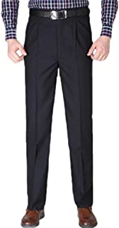 Howely Men Business High Waist Relaxed Fit Straight-Fit Plain-Front Pant