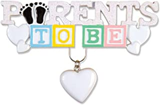 Personalized Parent to Be Christmas Tree Ornament 2019 - White Lettering Toy Block Heart Dangling Expecting Couple Shower Boy Girl New Year - Free Customization (P)