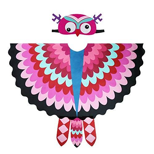 Toddler Kids Fairy Bird Costume Owl Wings Feathered with Mask - Boys Girls Animal Dress-up Party Favors (#3 Rose)