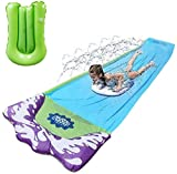 Lawn Water Slides Slip - 15.7 FT Rainbow Slip Slide Play Center with Splash Sprinkler and Inflatable Crash Pad-Children Swimming Pool Games Outdoor Water Toys Apply to Backyard for Kids