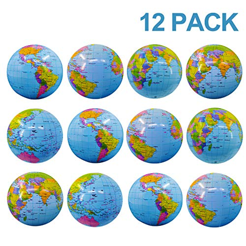 """TURNMEON 12 Pack World Globe Beach Balls Inflatable Pool Toys Games 16"""" Giant Outdoor Beach Pool Party Balls Swimming Water Pool Toys Party Supplies for Adult Kids Beach Floats with Skin-Friendly PVC"""