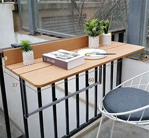 ZJHCC Mesa Colgante Plegable Ajustable imitación Madera Colgante balcón terraza Mesa para áreas y Balcones Patio barandilla Mesa de Comedor jardín Muebles de Patio, Beige, 37 * 60cm