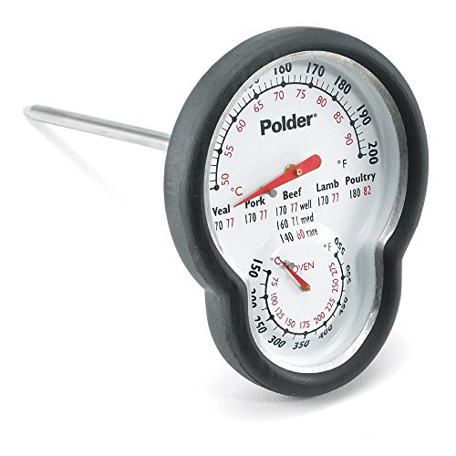 Polder Digitales Ofenthermometer, Dual Sensor, Ofen Thermometer, schwarz