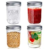 Wide Mouth Mason Jars 16 oz, Supkiir 4 Pack Canning glass Jars with Lids for Drinking, Meal, Overnight Oats