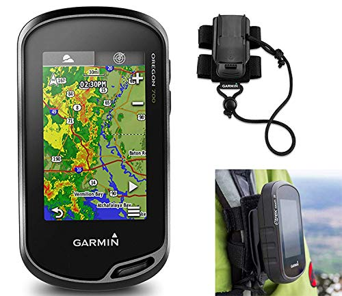 Garmin Oregon 700 Hiking GPS Bundle | with Hiking Backpack Tether Mount | Carabiner Clip & USB Cable | GPS/GLONASS Handheld | Built-in Wi-Fi, Bluetooth, Geocaching
