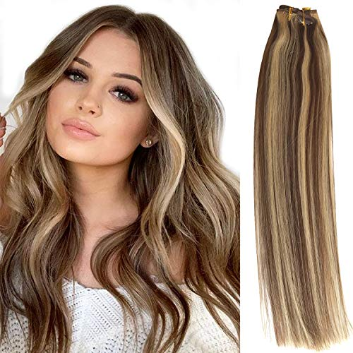 Clip in Hair Extensions Brown with Blonde Highlights Human Hair Extensions Clip on 7 Pieces 70 Gram for Fine Hair Full Head Silky Straight Soft Weft Remy Real Hair Extensions for Women/Kids (Brown Hair With Full Head Of Highlights)