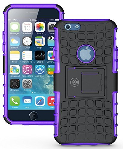 iPhone 6S Case, iPhone 6 Case by Cable and Case - [Heavy Duty] Tough Dual Layer 2 in 1 Rugged Rubber Hybrid Hard/Soft Impact Protective Cover [with Kickstand] Shipped from The U.S.A. - Purple