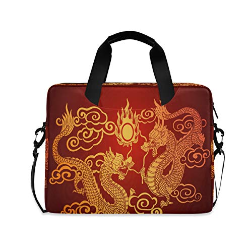 Chinese Japanese Traditional Dragon Asia Laptop Carrying Case Shoulder Bag Briefcase W/Strap Women Men 15.6' 16'
