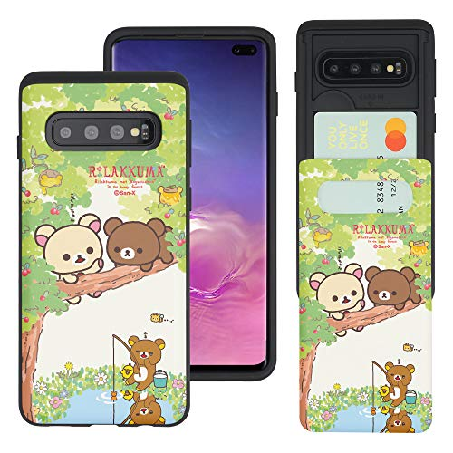 Compatible with Galaxy S10e Case (5.8inch) Rilakkuma Slim Slider Card Slot Dual Layer Holder Bumper Cover - Rilakkuma Forest