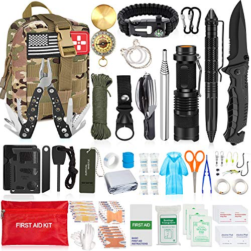 Aokiwo 126Pcs Emergency Survival Kit, Professional Survival Gear Tool First Aid Kit SOS Emergency with Molle Pouch for Camping Adventures (Army Green)