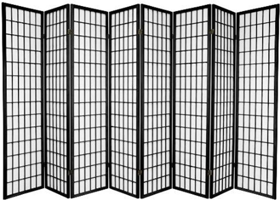 Legacy Decor 8 Panel Japanese Oriental Style Room Screen Divider Black Color