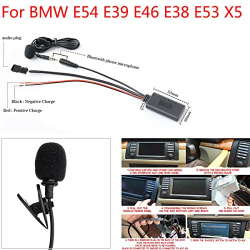 Car Audio Cable Adapter AUX Line + Bluetooth 5.0 Microphone Integrated Intelligent Voice Noise Reduction Connected to External Audio Source Compatible with BMW E54 E39 E46 E38 E53 X5 Hands-free Call