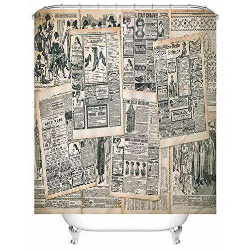 Rubyia Art Duschvorhang, Zeitung 3D Motiv Bath Curtain mit Duschvorhang Ringe, Polyester, Weiß Schwarz, 165 x 180 cm