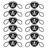 YOTINO 12 Pezzi Benda sull'occhio Pirata in Feltro Nero, Maschera Costume con Teschio per Festa a Tema Pirata Festa di Halloween