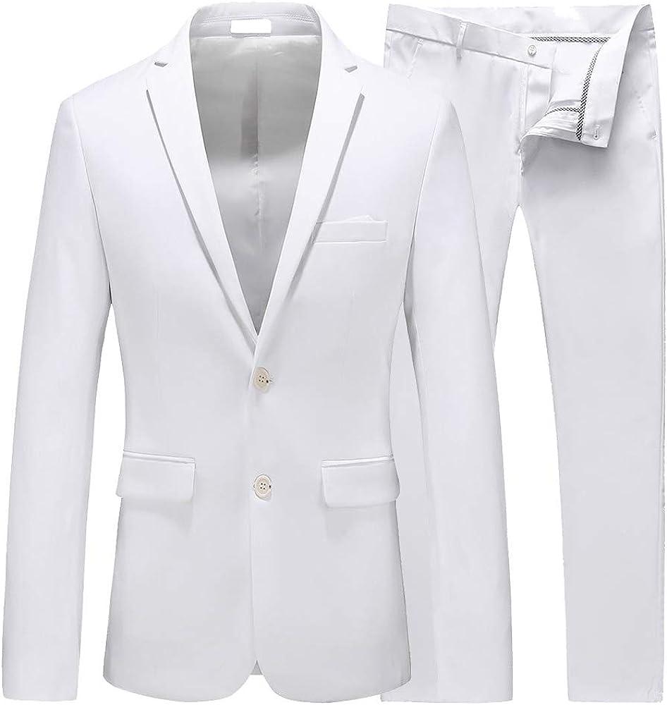 Mens Suit Slim Fit 2 Piece Tuxedo 2 Buttons Pure Jacket & Pants