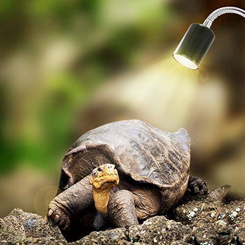 Goefly Lámpara de Calor de Tortuga, Foco de Calor para Reptiles de Acuario, Punto de Descanso con Soporte UVA UVB con Clip Giratorio de 360 ° Iluminación de hábitat
