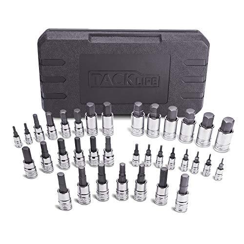 TACKLIFE Master Hex Bit Socket Set, 35 Pcs Metric and SAE Allen Socket Set, 1/4
