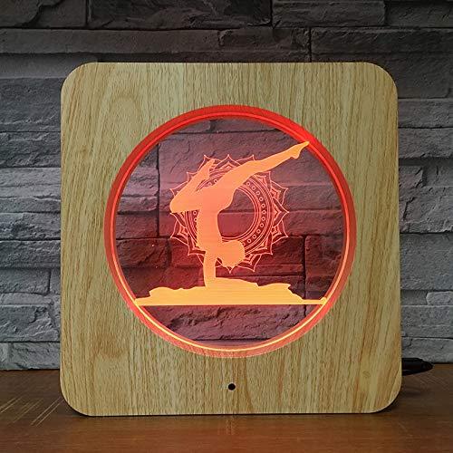Marco de Yoga plástico Color plástico luz Nocturna lámpara Personalizada lámpara de Mesa niños Color Regalo decoración del hogar