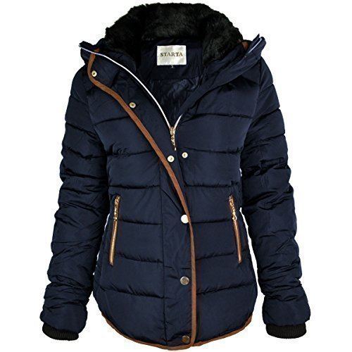 ab96f424bd3 Fashion Thirsty WOMENS LADIES QUILTED WINTER COAT PUFFER FUR COLLAR HOODED  JACKET PARKA SIZE NEW