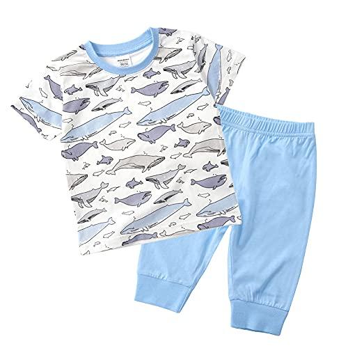 キッズ ハーフパンツ 半袖 tシャツ 上下セット 子供 パジャマ 男の子 女の子 ショートパンツ 綿 ホームウェア 夏 90 100 110 120 130 全8色 (05ベビーブルー,魚, 110)