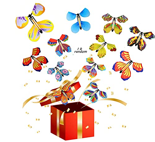 10 Pieces Magic Fairy Flying Butterfly Rubber Band Powered Wind up Butterfly Toy for Surprise Gift or Party Playing Christmas