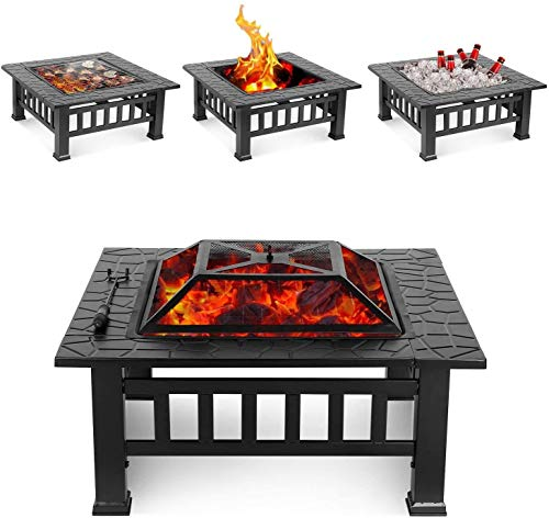 LJYY 32'' Outdoor Fire Pit Table, Multi-Purpose Square Fireplace, Backyard Patio Garden Outside Wood Burning Heater, BBQ, Ice Pit, with BBQ Frames&Waterproof Cover, Suitable for Party, Picnic, Camp