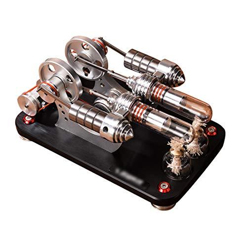 Gettesy Stirlingmotor Bausatz Stirling Engine Kit 2-Zylinder Metal Parallel Bootfähig Motor Stirling DIY Modell Lehrreich Physik Spielzeug Geburtstagsgeschenk Kinder und Technikbegeisterte
