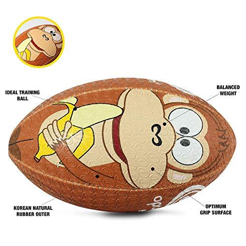 Optimum Unisex Monkey Cartoon Rugby Ball - Multicoloured, Mini