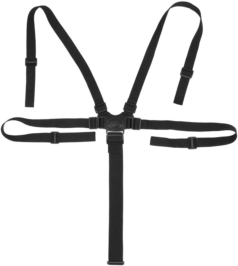 Cinturón de arnés de asiento de bebé, diseño de 5 puntos Cinturón de arnés de asiento infantil de protección ambiental ajustable para sillas altas(Black snap)