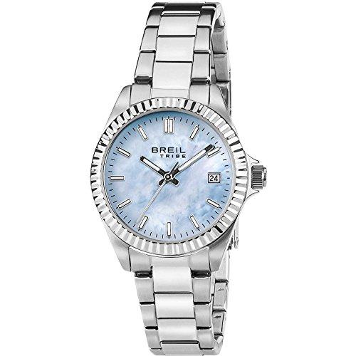 Breil Orologio Donna Classic Elegance quadrante Madreperla Blu Chiaro Movimento Solo Tempo - 3H Quarzo e Bracciale Acciaio EW0238
