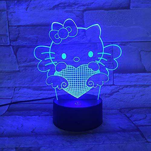 Lampe Illusion, Lumière D'Ambiance Acrylique 3D Chat Anime Kitty, Lumière Dégradée Led 7 Veilleuse