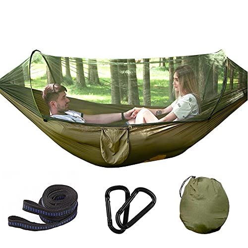 Zokrintz Hamaca de camping con mosquitero y correas para árboles, ligera, tela de paracaídas, cama de viaje para senderismo, mochilero, patio trasero