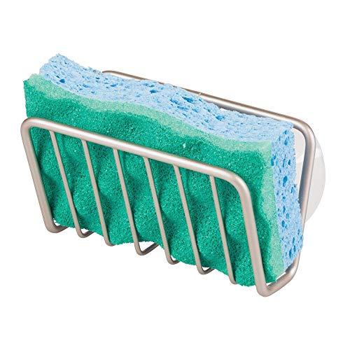 mDesign Portaestropajos para cocina con ventosas para el fregadero – Cesta de rejilla para esponja, cepillos o jabón – Ideal como...