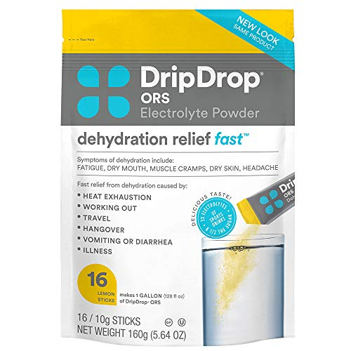 DripDrop ORS - Patented Electrolyte Powder For Dehydration Relief Fast - For Workout, Sweating, Heat, & Travel Recovery - Lemon - 16 x 8oz Servings