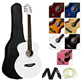 Tiger ACG2-WH Full Size 4/4 Acoustic Steel-string Guitar for Beginners - Package includes Gig-bag, Strap, Scratchplate and Spare Strings - White - Now with Six Months FREE lessons