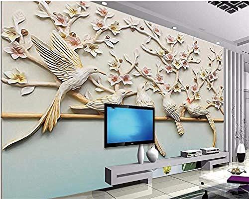 Wallpaper 3D murals Flower and Bird Relief Background Wall Figure Sofa Bedroom Living Room TV Background Wall 3D Wallpaper Paste Living Room The Wall for Bedroom Mural-350cm×256cm