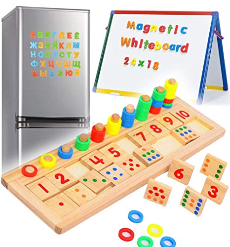 ARToy 3 in 1 Wooden Magnetic Numbers Puzzle for Toddlers Magnetic Montessori Toddler for 3+ Year Old Children Kids